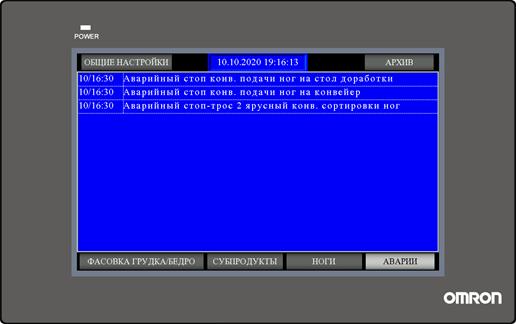 Экран оповещения об авариях системы управления конвейером